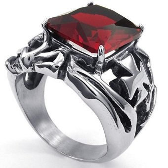 Mens Crystal Stainless Steel Ring Gothic Cross Red Silver- INTL