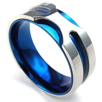 Mens Rings Stainless Steel Classic Bands Blue Silvery 8 (Intl) - picture 2