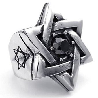 Mens Rings Stainless Steel CZ Retro Star of David Black Silver (Intl)