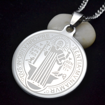 Men's SIlver Tone Stainless Steel Patron Saint St.Benedict HolyMedal Pendant Necklace SS Curb Chain 60CM - Intl