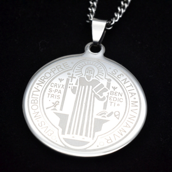 Men's SIlver Tone Stainless Steel Patron Saint St.Benedict HolyMedal Pendant Necklace SS Curb Chain 60CM - Intl - 2