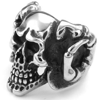 Mens Stainless Steel Ring Gothic Devil Skull Black Silver- INTL