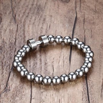 Mens Stainless Steel Silver Dumbbell Charm Bracelet with 8mm BeadsChain Fitness Jewelry Power Gym - intl - 4