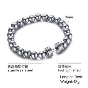 Mens Stainless Steel Silver Dumbbell Charm Bracelet with 8mm BeadsChain Fitness Jewelry Power Gym - intl - 2