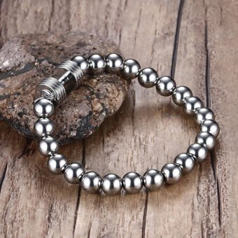 Mens Stainless Steel Silver Dumbbell Charm Bracelet with 8mm BeadsChain Fitness Jewelry Power Gym - intl - 5