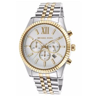 Michael Kors Lexington Chronograph White Dial Two-tone Watch