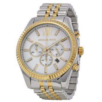 Michael Kors Lexington Oversized Men's Two-tone Gold Silver Stainless Steel Strap Watch MK8344