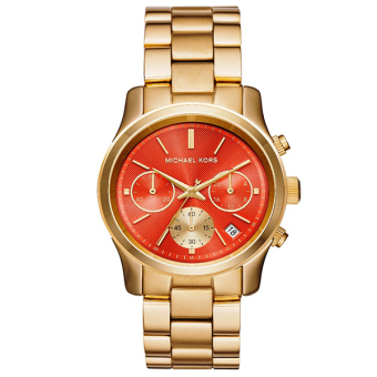 Michael Kors Runway Chronograph Orange Dial Gold-tone Ladies Watch