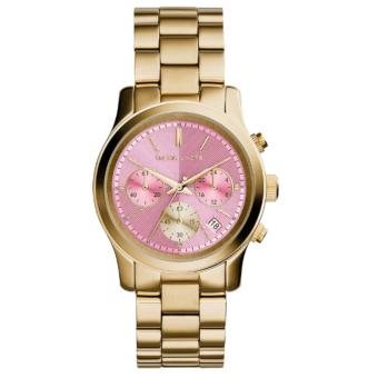 Michael Kors Runway Pink Dial Gold-tone Stainless Steel Chronograph Watch MK6161