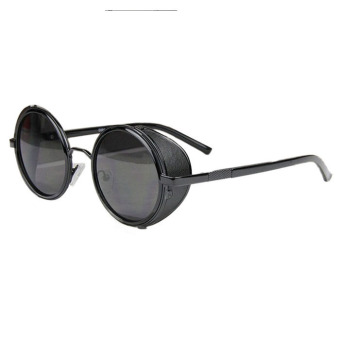 Mirror Lens Round Glasses Cyber Goggles Steampunk Sunglasses Black