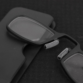 Moonar Unisex Portable Mini Nose Clip Reading Glasses with Case Without Legs (+1.00,Black) - intl - 3