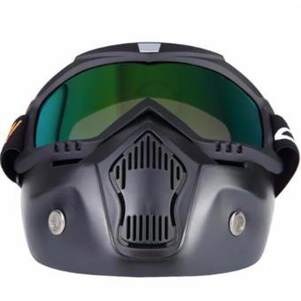 Motocross Motorbike Motor Open Face Detachable Goggle HelmetsVintage Glasses (Black) - 2