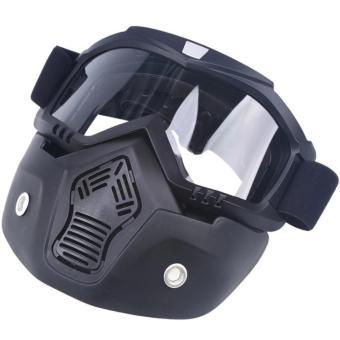 Motocross Motorbike Motor Open Face Detachable Goggle HelmetsVintage Glasses (Black) - 4