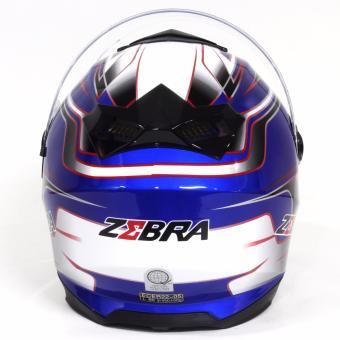 Motor Craze ZEBRA FF801 #24 Fullface Motorcycle Helmet (Navy Blue) - 4