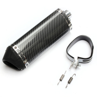 Motorcycle Exhaust Muffler w/ Movable Silencer Carbon Fiber Color Scooter Metal - 2