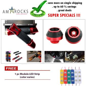 Motorcycle Red Lipstick Handle Bar Grip Plus Axle Cap Nut Cover Universal Compatible for Fits All Rusi Model