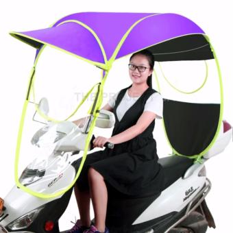Motorcycle Umbrella Canopy Waterproof Rain Cover Sun shade wind (purple)