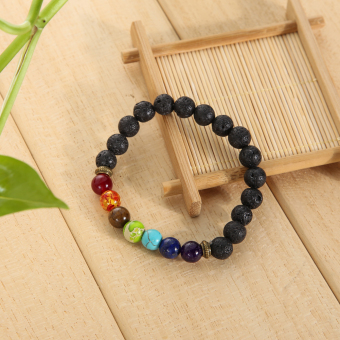 Multicolor Lava Rock Beads String Stretchy Bracelet