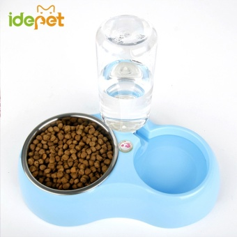 Multifunction Pet Bowl Dog Feeder Food Bowl With Water Bottle Dog Pet Feeder High Quality Dog Bowl Puppy Dish(blue) - intl Price Philippines