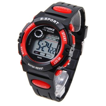 Multifunction Waterproof Kids Boys Girls Sports Electronic Digital Watch Watches Red