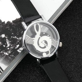 Music Notation Womens Men Quartz Watches PU Leather Analog Wristwatch Black - Intl - 3