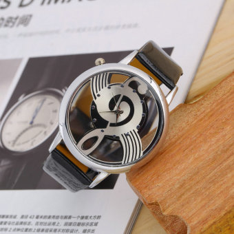 Music Notation Womens Men Quartz Watches PU Leather Analog Wristwatch Black - Intl - 2