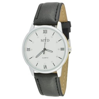 MYD Fashionable Casual Analog Leather Strap Watch (Black)