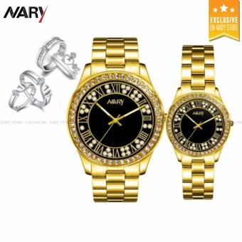 NARY 1005 Lover's Fashion Steel Strap Quartz Watch (Gold+Black) With S925 Couple Rings(ONE SIZE)/ J040 Couple Rings(ONE SIZE)