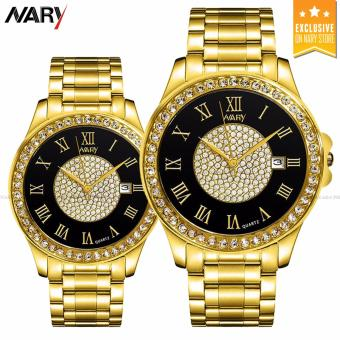 NARY 1006 Couple's Fashion Steel Digital scale Strap Quartz Watch (Gold+Black)