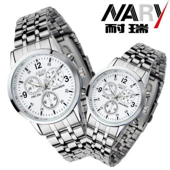NARY 6033 Dial Classic Couple Lover Women Men Quartz Full StainlessSteel Wrist Watch Blue ( with Free Adjustable Lovers Rings ) - intl - 4