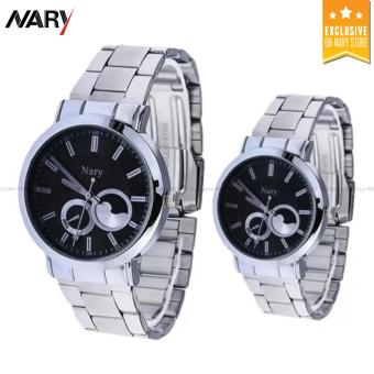 NARY 6053 Luxury Lovers' Couple Stainless Steel Quartz Wristwatch(Black)