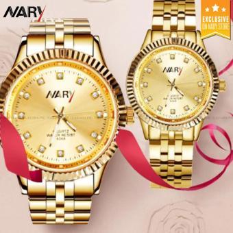 NARY 6068 Couple's Fashion Gold Steel-belt Quartz Watch (Gold)