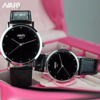 NARY 6097 Couple's Black Leather Strap Wristwatch With Roman Numerals