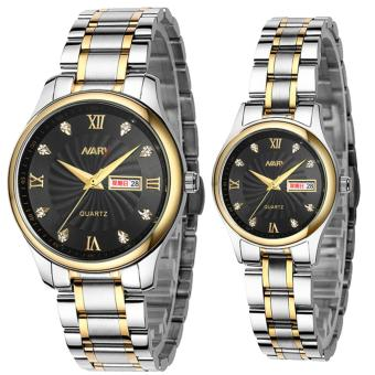 NARY 6126 Couple's Fashion Steel Strap Wristwatch (Black)