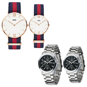 NARY 9008 Couple's Fashion Nylon Strap Wristwatch (Rose Gold/Blue+Red) with Couple's Digital Stainless Steel Quartz Watch C-NR-6104-Black Steel