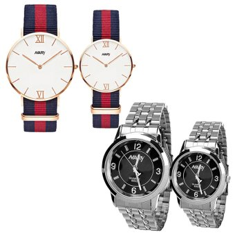 NARY 9008 Couple's Fashion Nylon Strap Wristwatch (Rose Gold/Blue+Red) with NARY Lovers Black Stainless Steel Strap Watch 6063