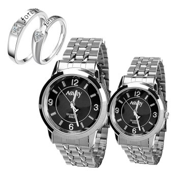 NARY Couple Black Stainless Steel Strap Watch 6063 With LX-JZ8814Adjustment Fashion Couple Ring