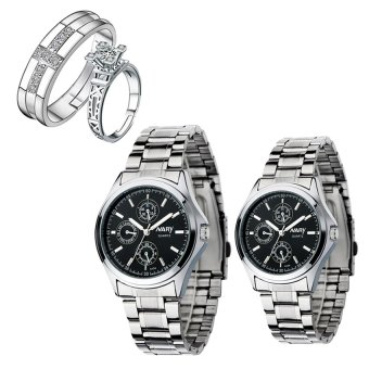 NARY Couple's Digital Black Stainless Steel Quartz Watch With PY-1 Opened Couple Rings