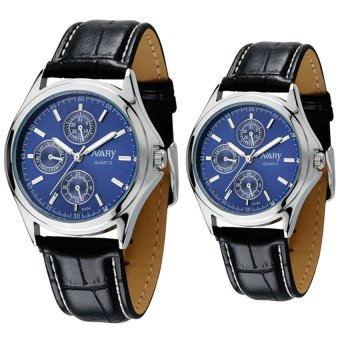 NARY Couple's Digital Leather Strap Quartz Watch C-NR-6104-Blue Leather