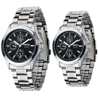 NARY Couple's Digital Stainless Steel Quartz Watch C-NR-6104-Black Steel