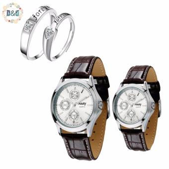 NARY Couple's White Digital Leather Strap Quartz Watch With LX-JZ8814 Adjustment Fashion Couple Rings