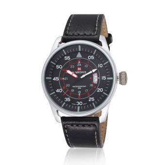 Naviforce Leather Strap Men's Watch NF9044 (Silver/Black/Red)