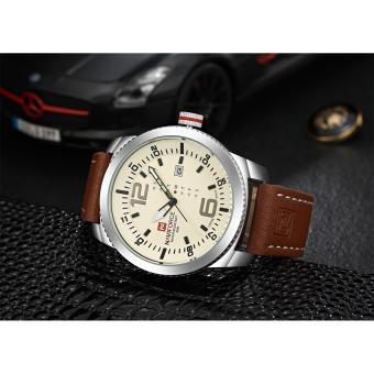 Naviforce Leather Strap Men's Watch NF9063 (Silver/Black/Brown) - 2
