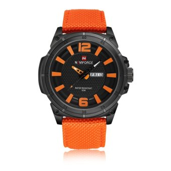 Naviforce Nylon Strap Men's Watch NF9066 (Black/Orange/Orange)