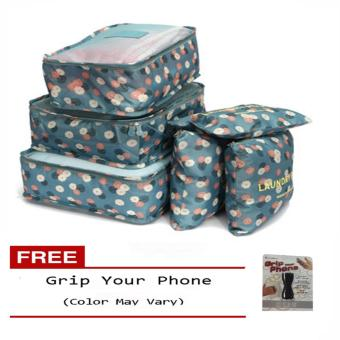 6Pcs Clothes Storage Bags Packing Cube Travel LuggageOrganizer Pouch (Floral Blue) Free Grip Your Phone (Color may vary)