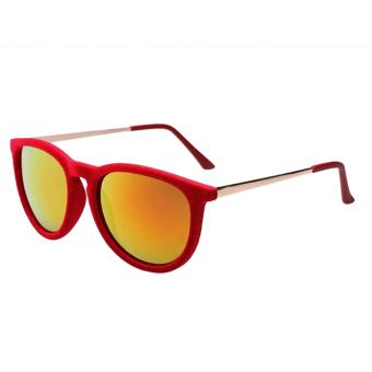 New 2015 Round Sunglasses Women Velvet Sunglasses Red (Intl) - picture 2