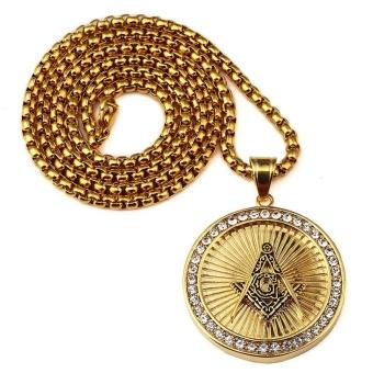 New Iced Out Gold Plated Freemason Masonic Compass G Round Pendant Free-Mason Freemasonry Hip Hop Necklace for Men/Women - intl - 4