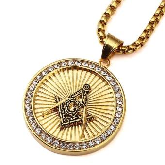 New Iced Out Gold Plated Freemason Masonic Compass G Round Pendant Free-Mason Freemasonry Hip Hop Necklace for Men/Women - intl - 3