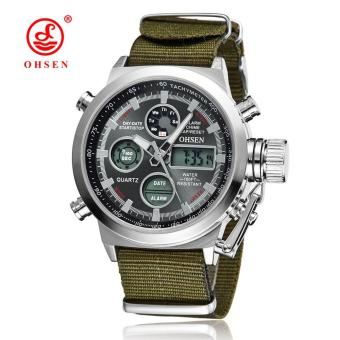 New OHSEN Men Watch Dual Time Zone Alarm LCD Sport Watch MensQuartz Wristwatch Leather Waterproof Dive Sports Digital Watches Price Philippines
