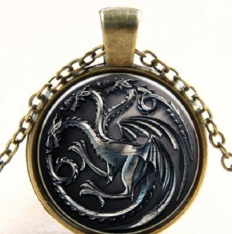NEW Style Vintage Round Dome Glass of Game of Thrones Dragon Necklace - intl